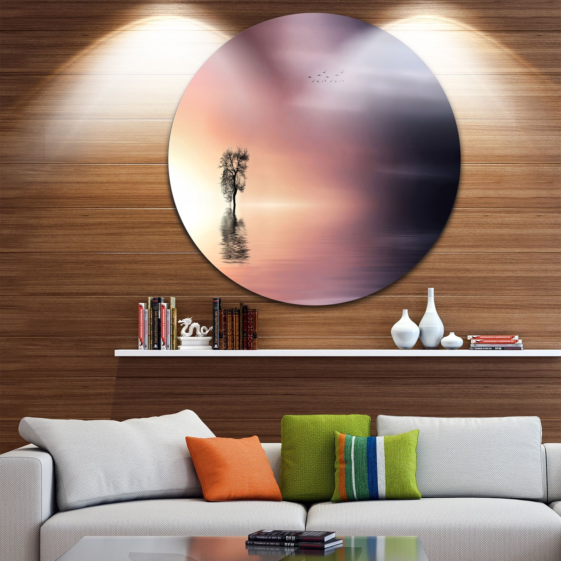 Designart Lonely Tree And Birds Panorama Round Metal Wall Art Landscape Round Wall Art Round Metal Wall Art Circle Metal Wall Art