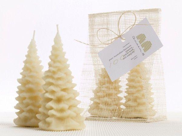 Queen B Beeswax Christmas Tree Candles- Medium- Set of Two   Christmas tree candles, Candle tree ...
