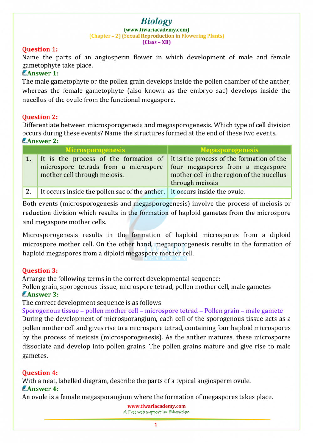 Ncert Class Xii Biology Chapter 2 Sexual Reproduction In Manual Guide