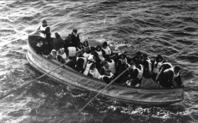 Survivors in collapsible lifeboat
