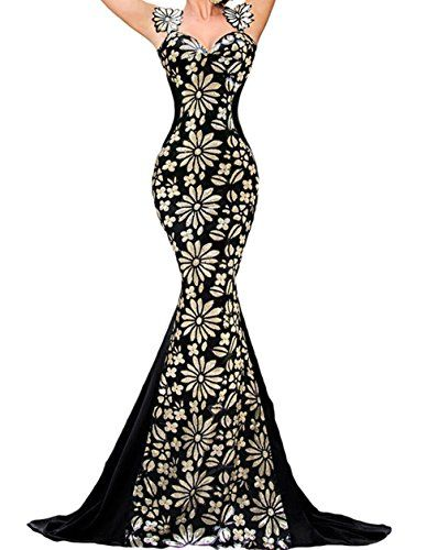 PEGGYNCO Womens Flowery Paillette Detail Debutante Mermaid Gown Size S * Find out more details @