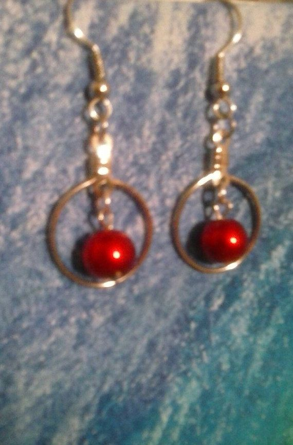 Hey, I found this really awesome Etsy listing at https://www.etsy.com/listing/223212275/red-pearl-hoop-earrings