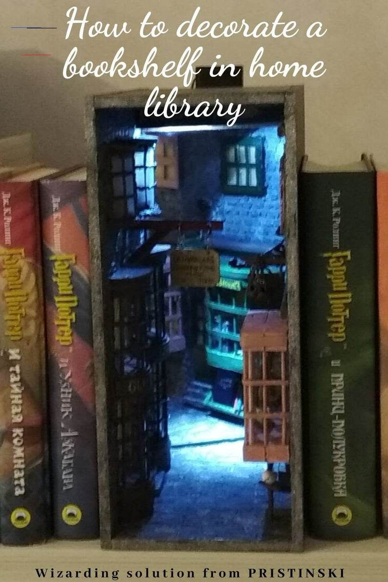 Book Nook Bookshelf Insert Harry Potter At Diagon Alley By Pristinski Booknooks Book Nook With An Image Of Diagon Alley Creat Dioramas Manualidades Libros