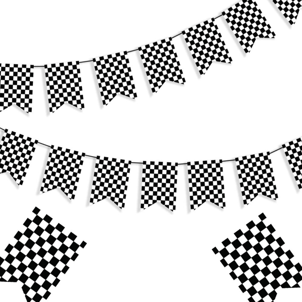 This Pack Includes 1 Strand Of Checkered Happy Birthday Banner Great Party Decorations From St Race Car Party Decorations Race Car Party Black And White Flag