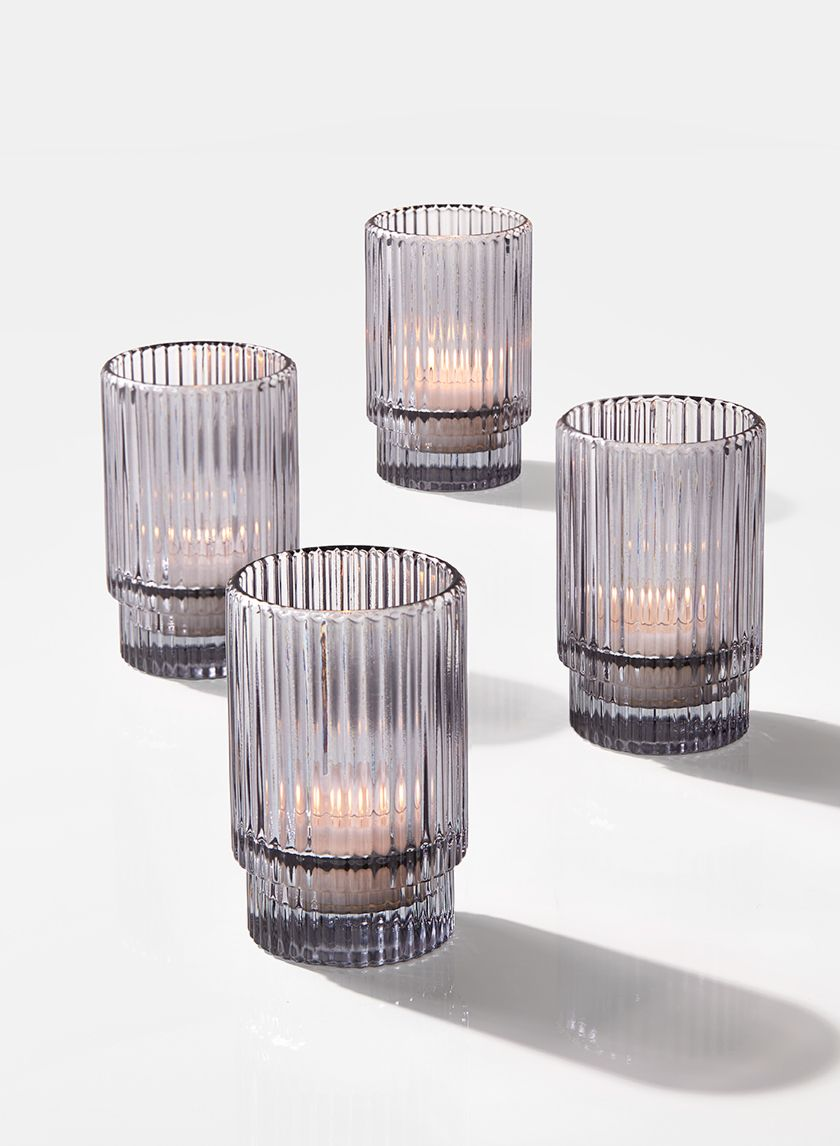 3 3 4in Smoke Pleated Glass Votive Holder Set Of 4 Glass Votive Wholesale Candle Holders Glass Votive Holders
