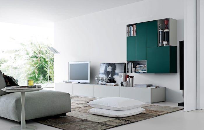 Wohnzimmer Türkis ~ Tv wohnwand akzente im wohnzimmer wohndesign türkis farbe