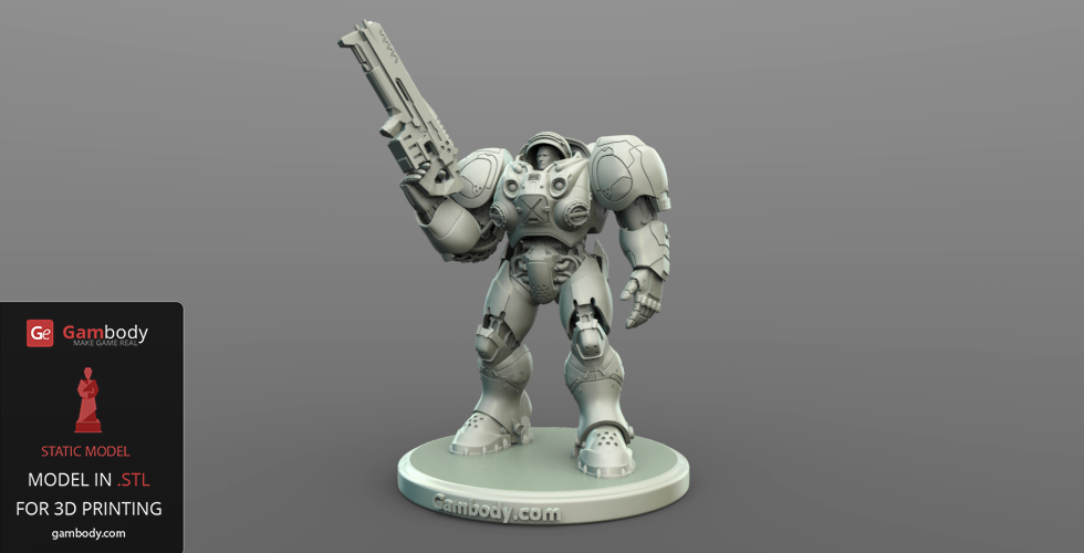 Terran Marine 3D Model with Gauss Riffle Pointed Up