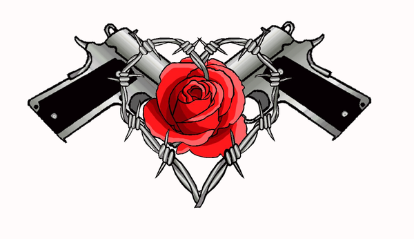Barbed Wire Rose Tattoo: Guns Roses And Barbwire Tattoo By Moatswimmer-inugrl On
