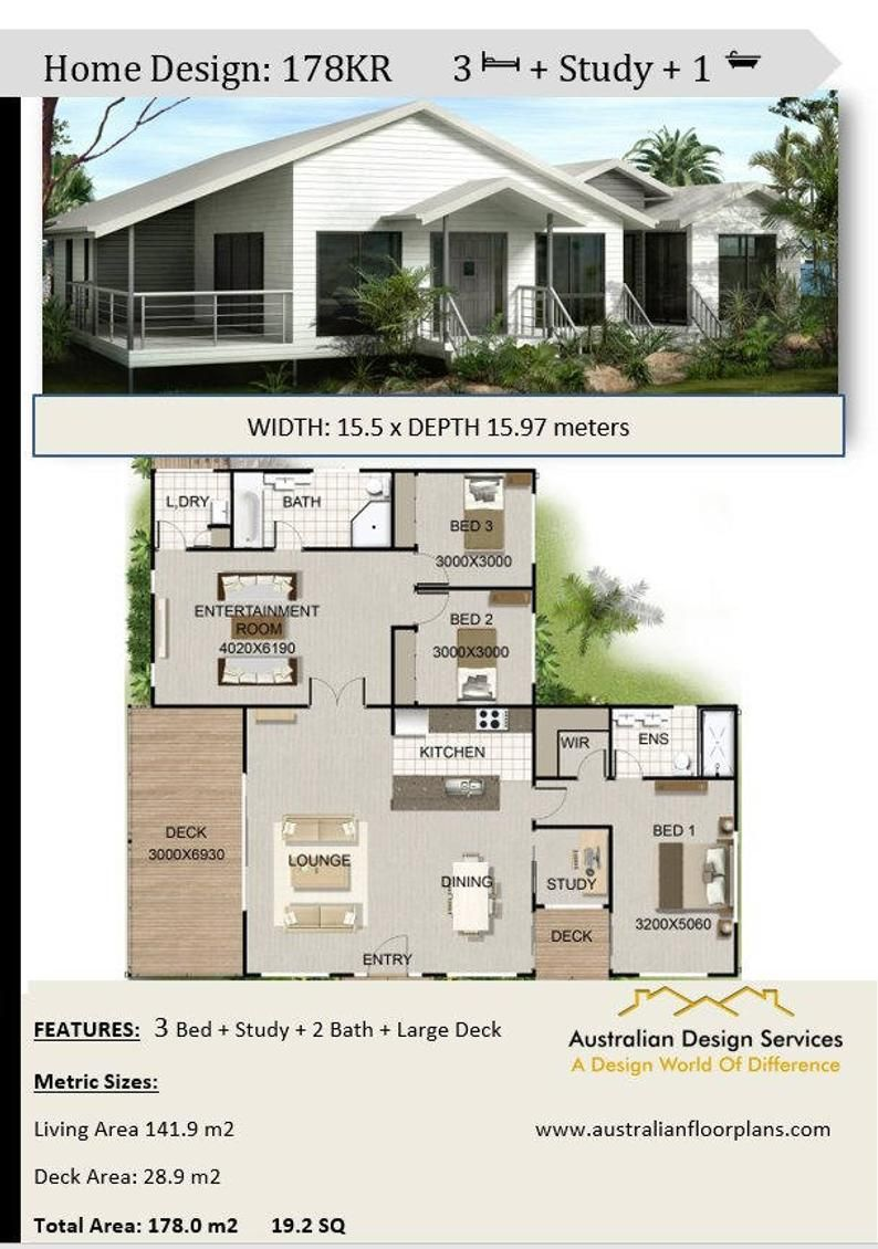 3 Bedroom Study On Poles Or Stumps Plans For Sale 178 M2 19 2 Sq 1920 Sq Feet In 2021 Beach House Plans House Plans Modern House Plans