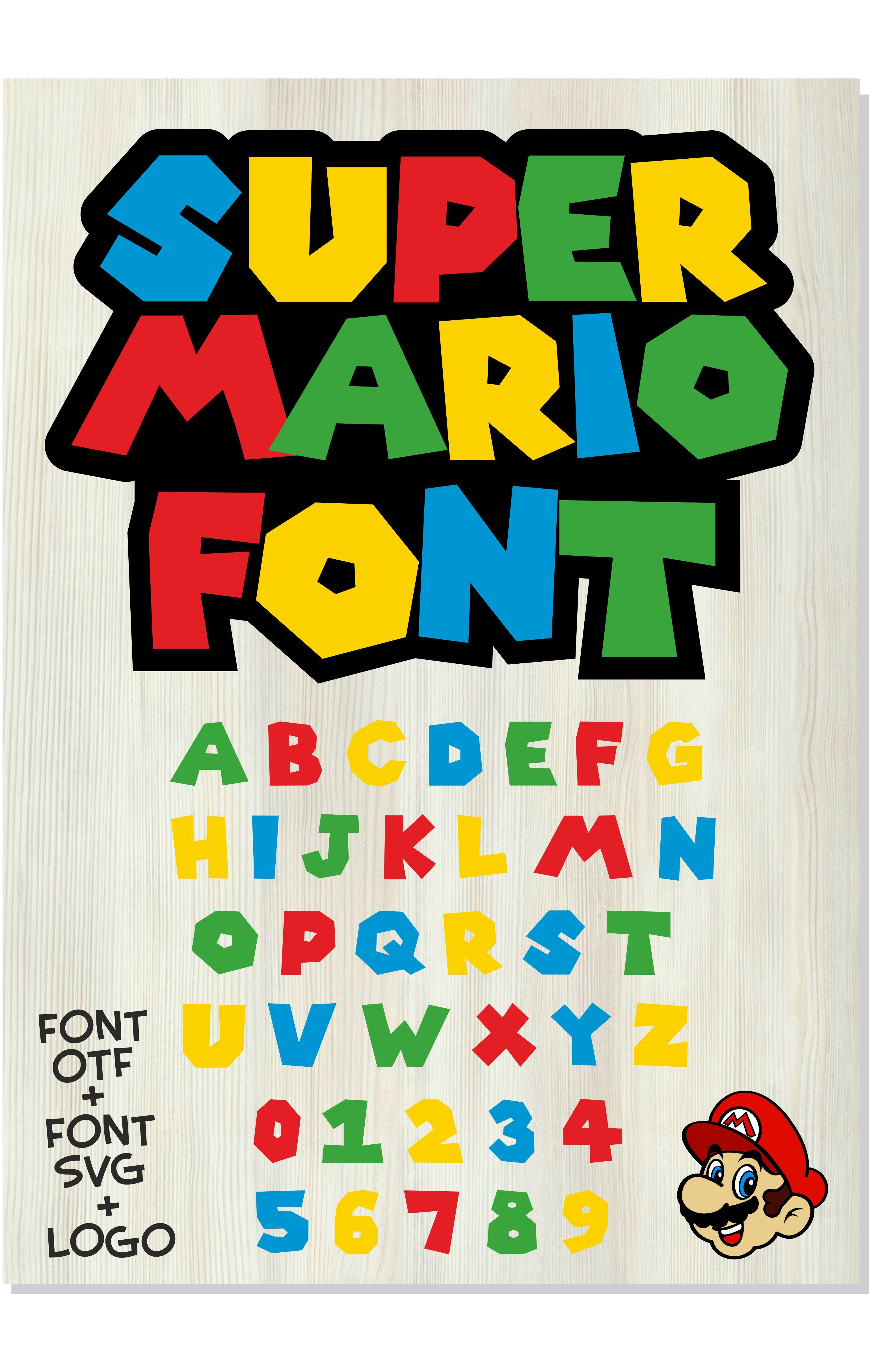 Super Mario Text : super, mario, Gamer, Installable, Letters, Cricut,, Instant, Download, Mario, Birthday,, Birthday, Party,, Super