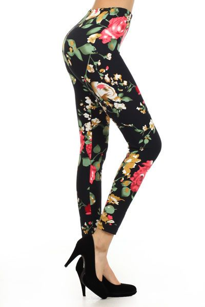 aebf23c5dfadc4 New Women's One Size Multi Gold Floral Print Leggings Full Long S-XL Comfy  N327 #ChaseHerDress