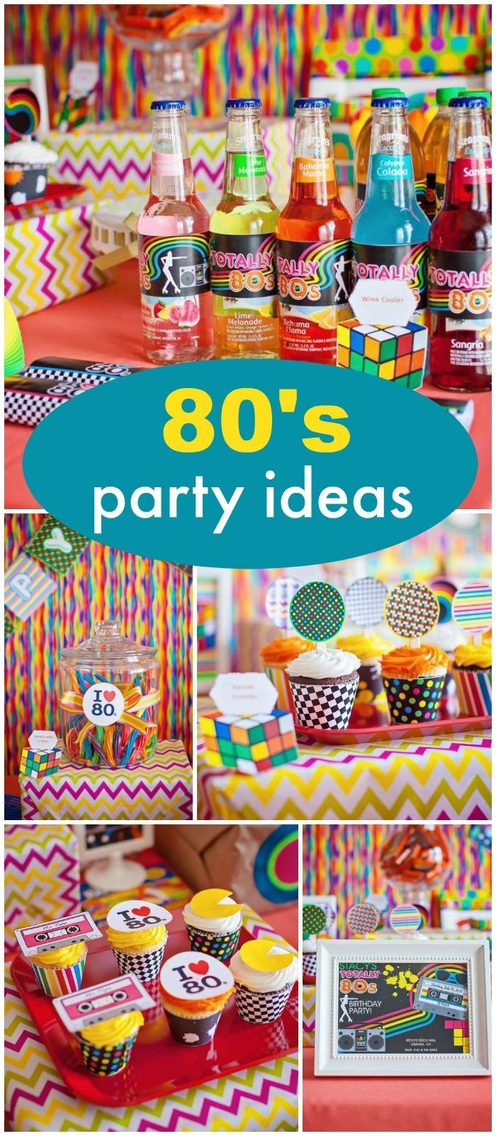 Centerpiece Ideas For Birthday Party Awesome How Cool Is This 30th Birthday With An 80 S Theme See M 80s Theme Party 80s Birthday Parties 30th Birthday Parties