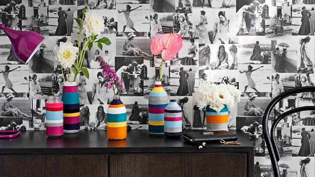 All it takes is a few balls of wool and some empty bottles to whip up these brightly coloured woolly vases.