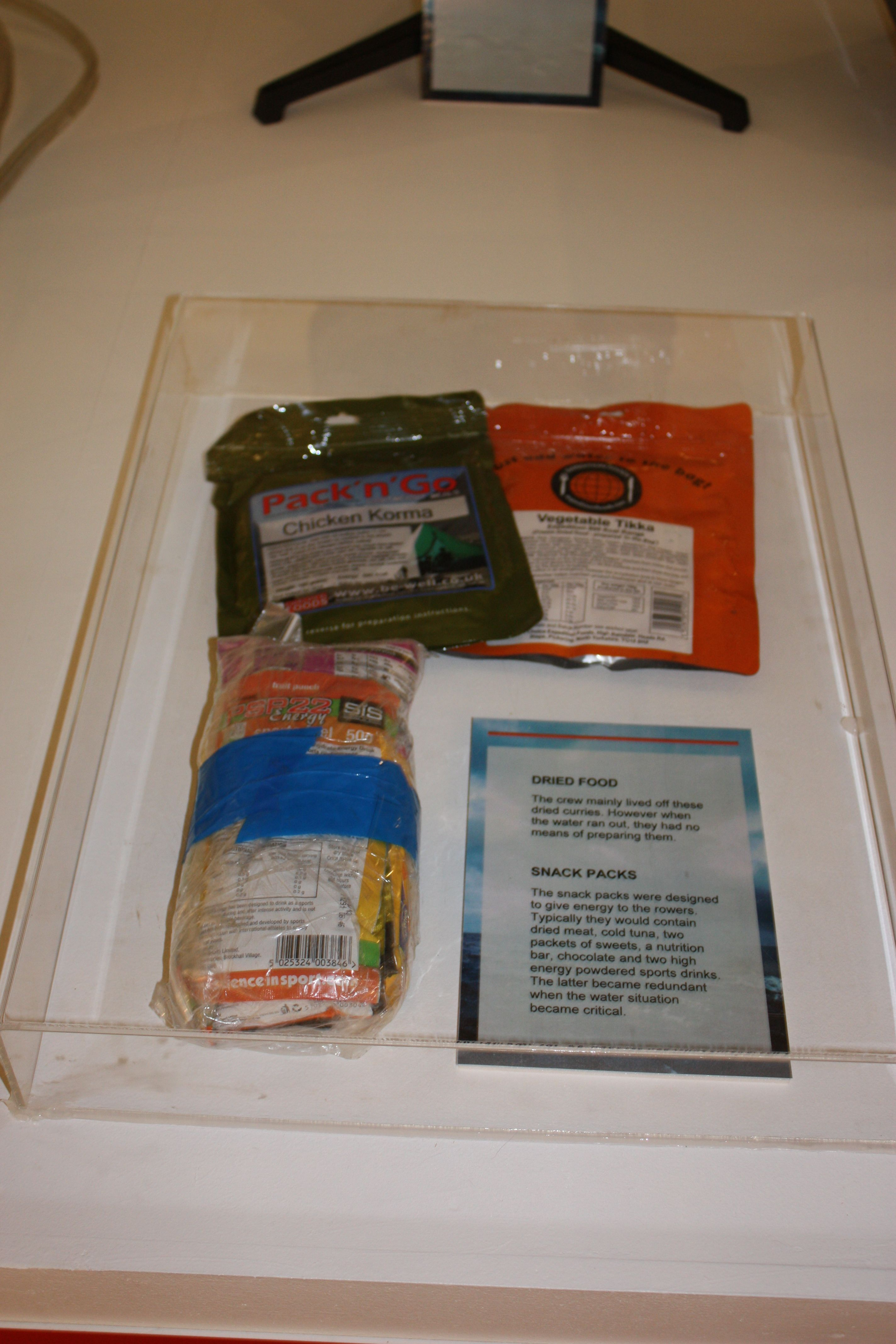 Ration packs from the 1st Row 2 Recovery crew displayed in the exhibition at the River & Rowing Museum.