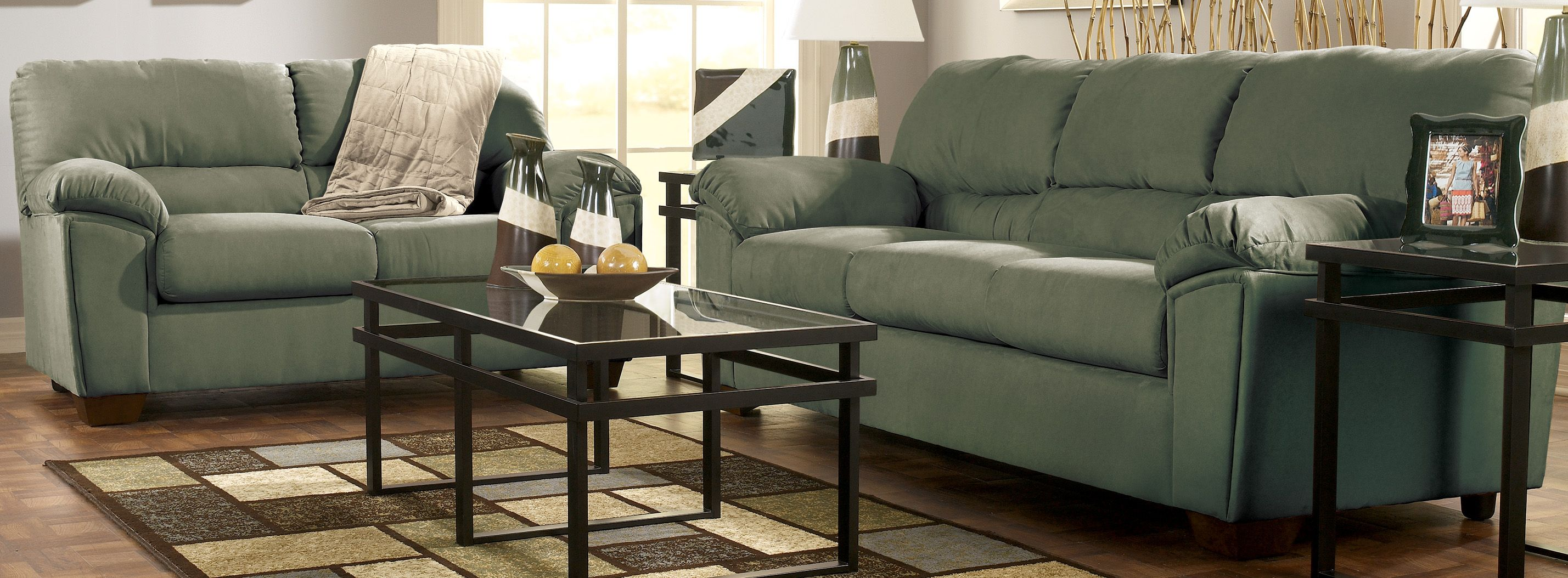 Green sofa signature design by ashley furniture near - Discount living room furniture near me ...