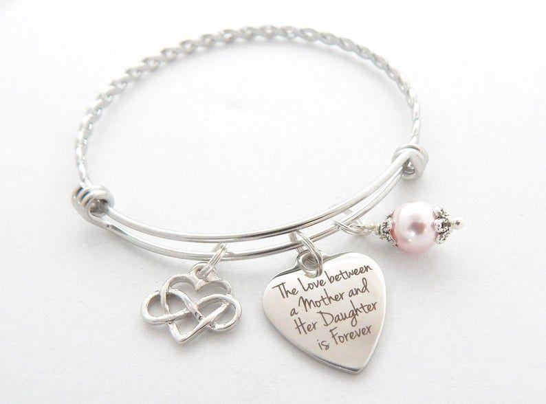 Infinity Bracelet with Handmade Silver Heart with Adjustable Closure. Infinity Bracelet with Brown Heart Love Statement Bracelet