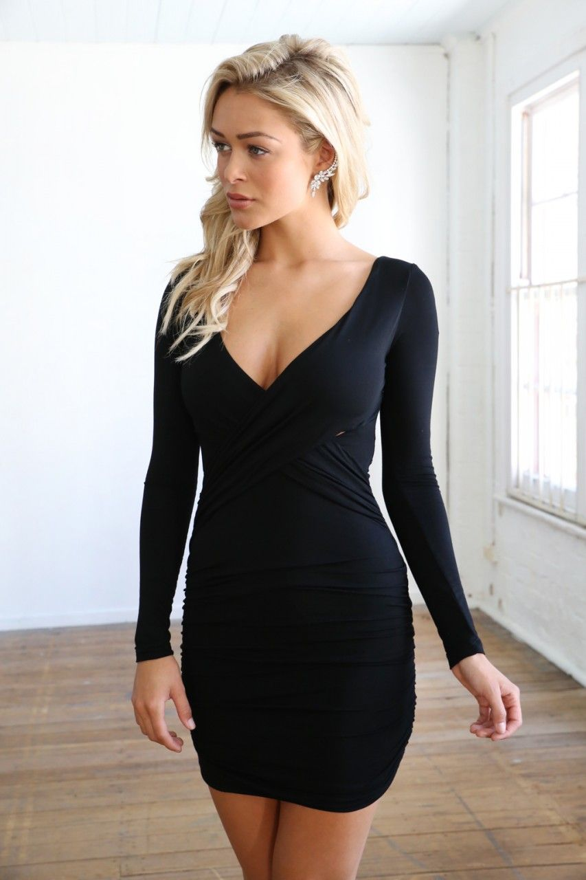 f45fe316280 Black Long Sleeve V Neck Bodycon Dress