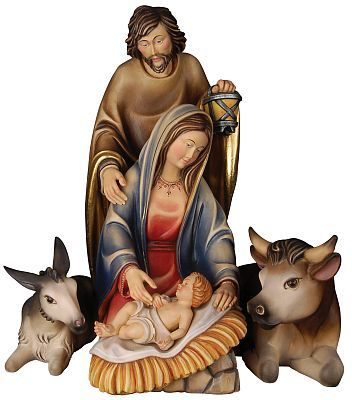 Holy Family With Ox And Donkey, Val Gardena Wood Carving, Baby Jesus With  Mary