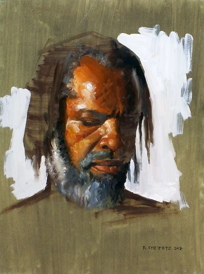 Head Sketch: Looking Down by David Cheifetz Oil ~ 12 x 9