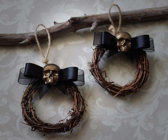 Mini skull wreaths Christmas decorations Halloween decorations - skull halloween decorations