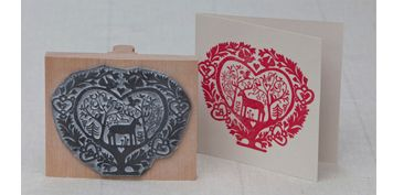Gorgeous handmade stamp by noolibird...make your own Christmas cards!
