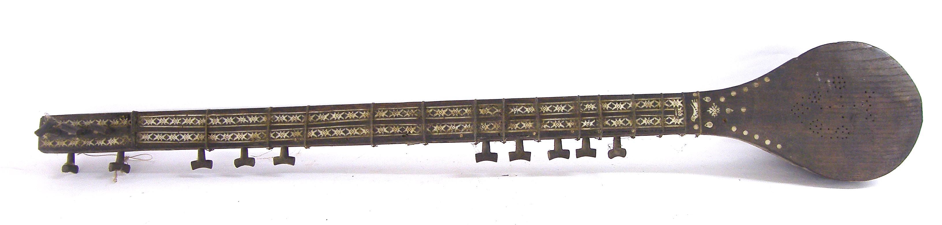 19th century tambour, possibly Afghan, the neck and body with geometric bone inlay (a.f)
