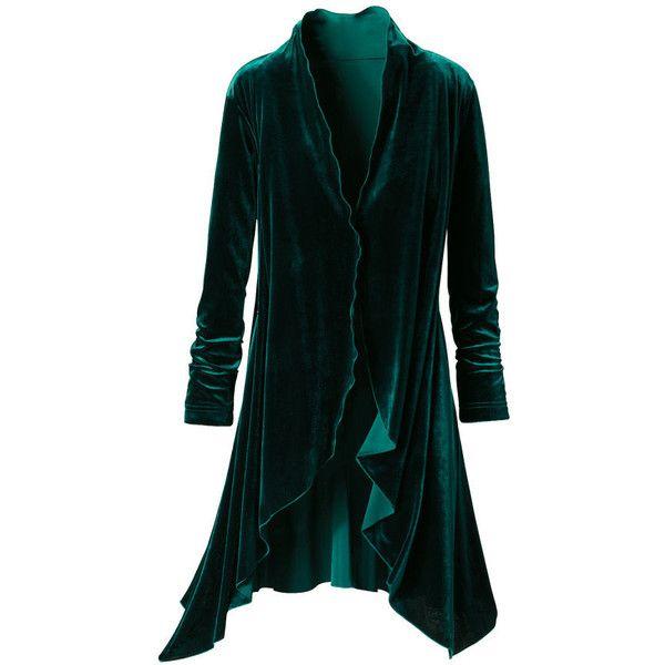 Evergreen Velvet Jacket ($90) ❤ liked on Polyvore featuring outerwear, jackets, coats, green, velvet, dressy jackets, celtics jacket, velvet gothic jacket, green jacket and velvet jacket