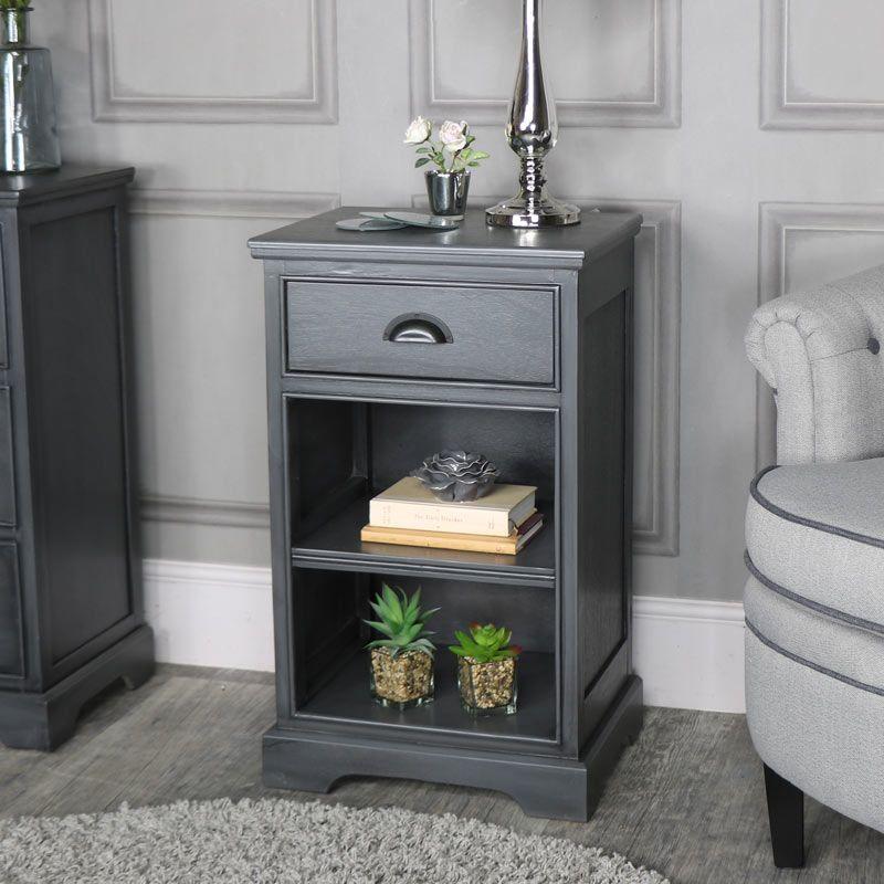 Best Dark Grey One Drawer Bedside Cabinet Lancaster Range 400 x 300