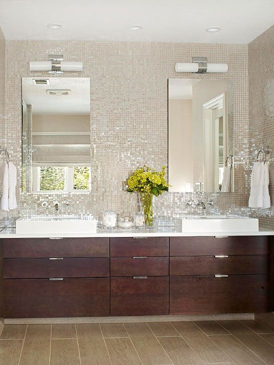 Iridescent Mosaic Tiles Bathroom Love
