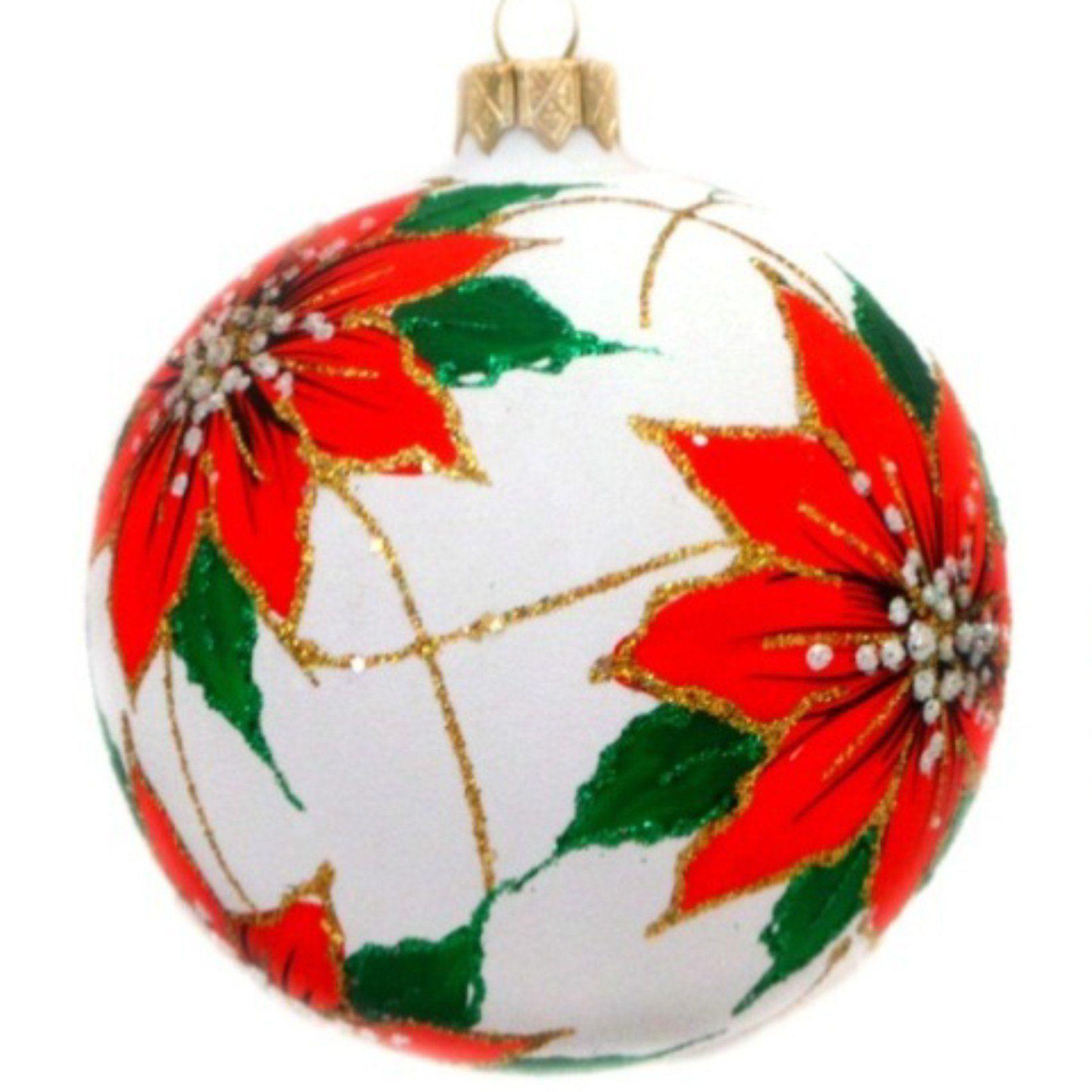 Poinsettia Flowers On White Glass Ball Christmas Ornament Christmas Ornaments Christmas Ball Ornaments Diy Handpainted Christmas Ornaments