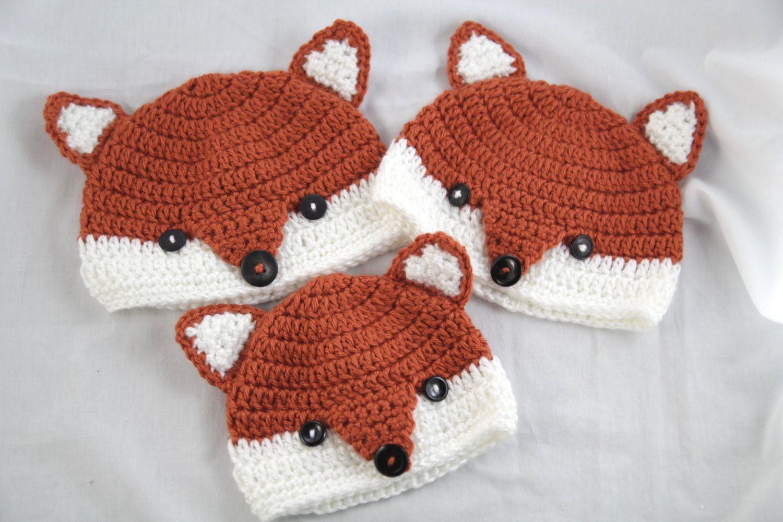 00ff4eddea4 Crochet Fox Beanie by PinkAppleOrchard on Etsy https   www.etsy.com