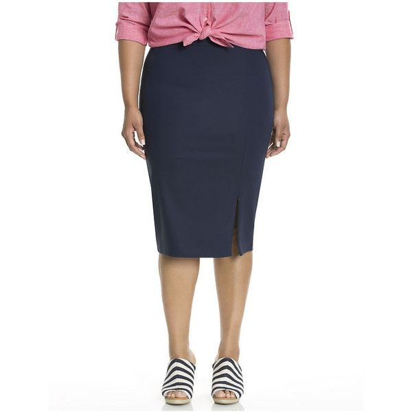 Lane Bryant Plus Size Double weave pencil skirt with zipper slit  Size... ($55) ❤ liked on Polyvore featuring skirts, blue, plus size skirts, plus size pencil skirt, slit skirt, womens plus size skirts and white pencil skirt