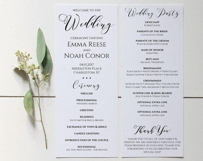Printable Wedding Program Rustic Wedding Programs Unique Wedding - Editable wedding program templates