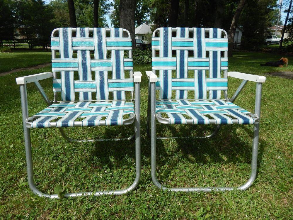 Details About 2 Vintage Mid Century Aluminum Chair Folding