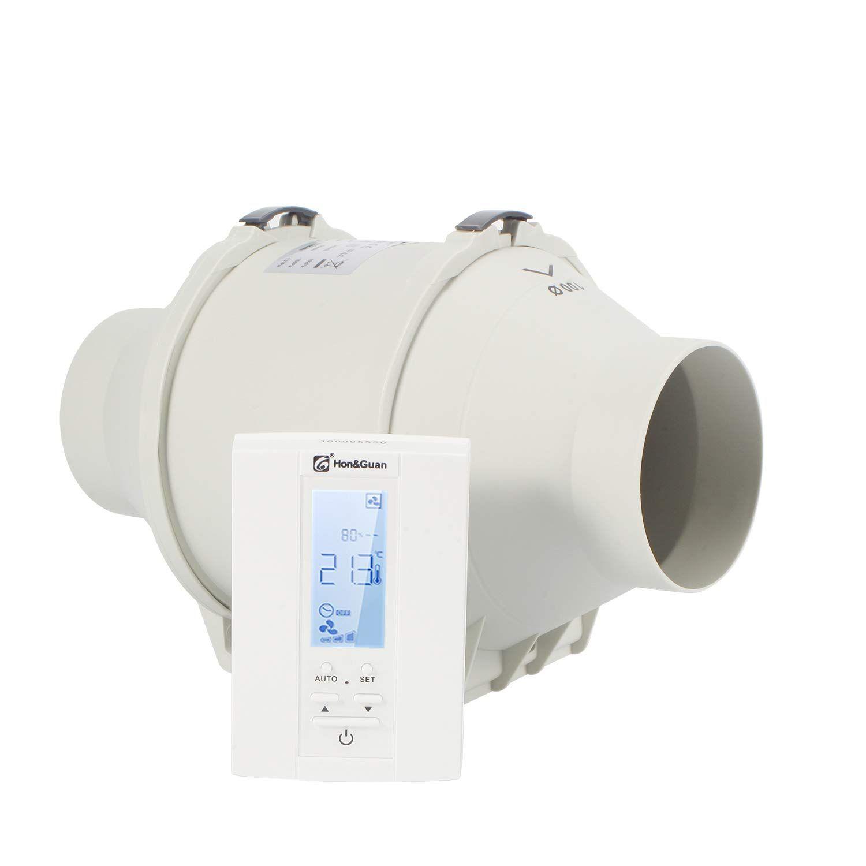 Hon Guan Extractor Inline Duct Fan With Humidistat Timer Bathroom Ventilation Fan With Wirele Bathroom Ventilation Fan Bathroom Ventilation Ventilation Fan