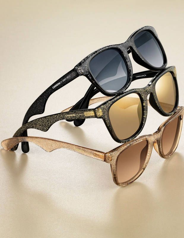 47c1c36da2d8 We want these under our tree this year. Carrera sunglasses by Jimmy Choo in  glitter shades.