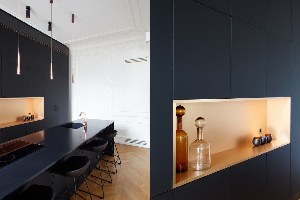 cuisine rue argenteuil fa ade fenix noir mat cuivre baldini architecture gcg. Black Bedroom Furniture Sets. Home Design Ideas