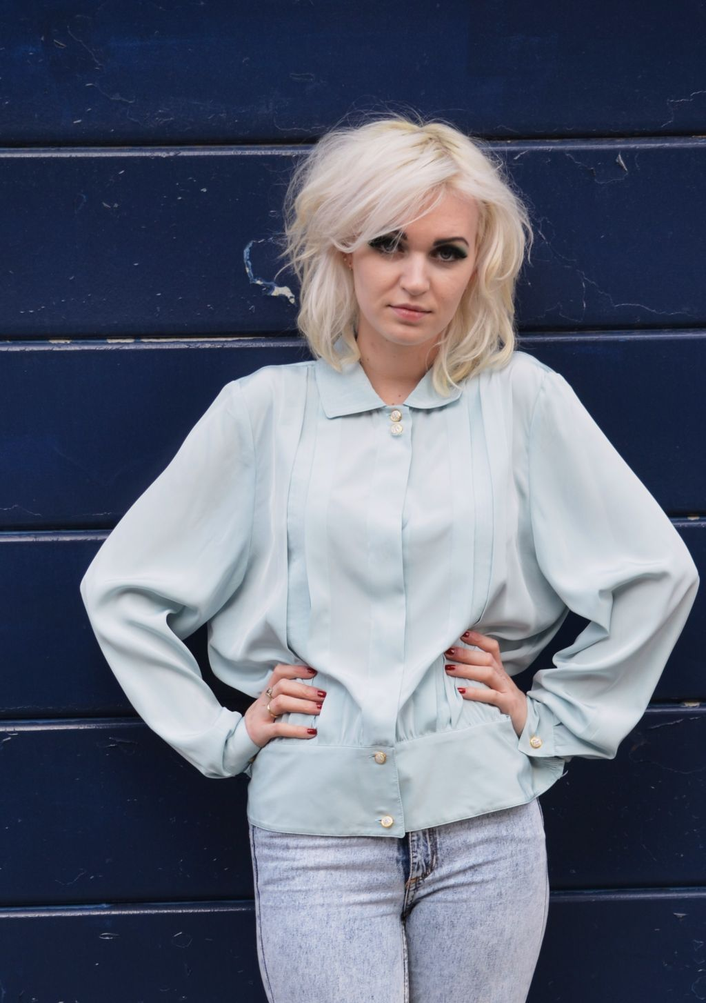 Early 1980s Soft Blue Blouse    Size 14, mint condition    £30.00