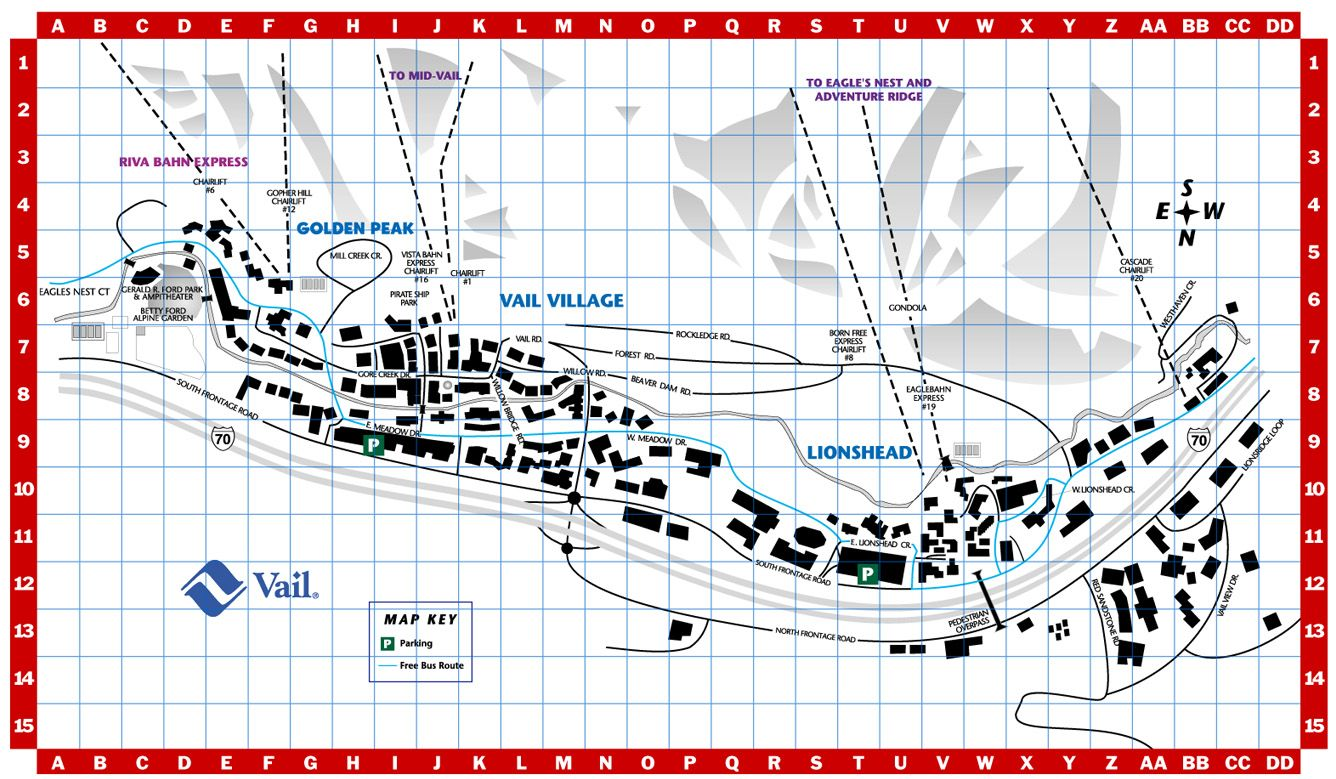 Vail Village Ski Resort Town Map Vail  Pinterest Resorts - Map of colorado ski resorts and cities