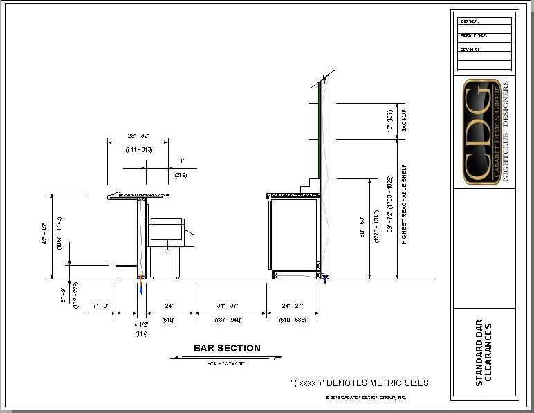 drawing of standard ergonomic bar clearances bar design pinterest bar restaurants and bar. Black Bedroom Furniture Sets. Home Design Ideas