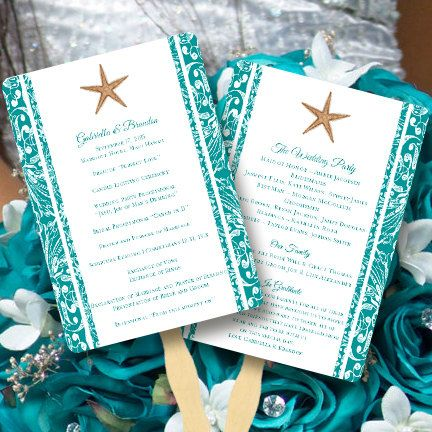 Fan Wedding Programs Beach Starfish Jade Tropical Destination Printable Template Edit Word Doc Order Any Color Border Diy U Print
