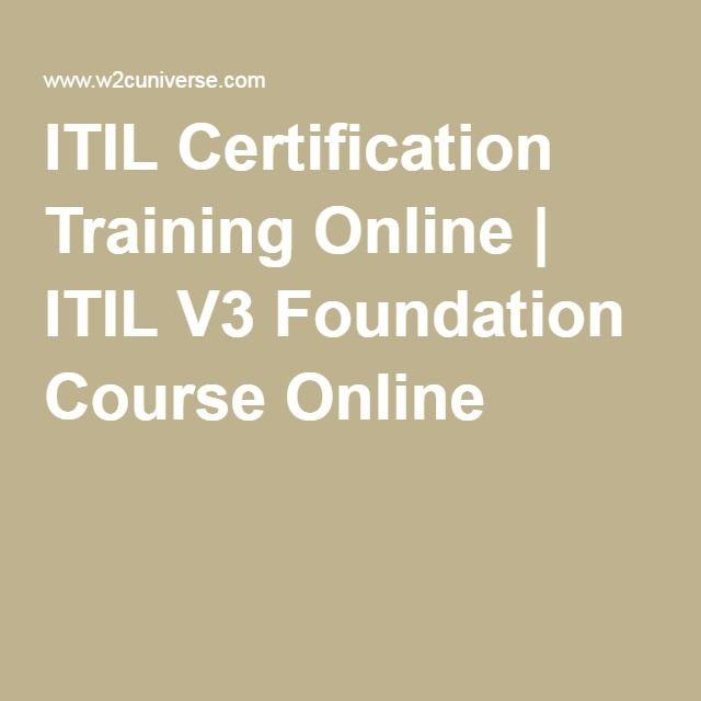 Itil Certification Training Online Itil V3 Foundation Course
