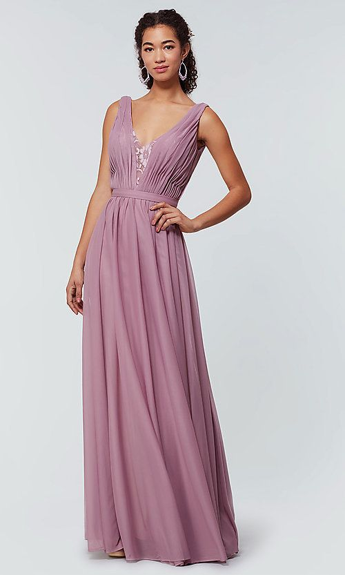 7d129459c8c Image of long Kleinfeld bridesmaid dress in stretch chiffon. Style   KL-200163 Front Image