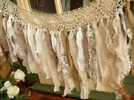 Custom Romantic Antique Lace Burlap Rag Valance Fabric