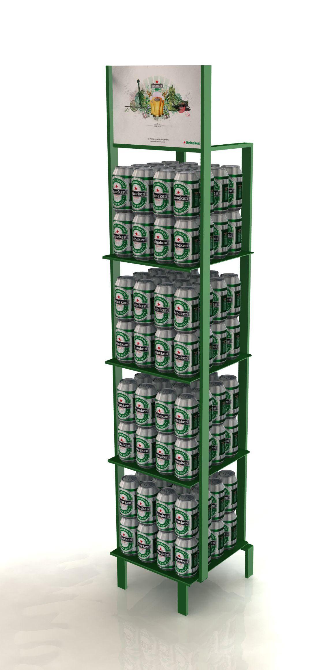 Expositor metálica con cartela desmontable para colocar botes Heineken. Es un expositor estrecho y resistente para colocar en pequeñas superficies.