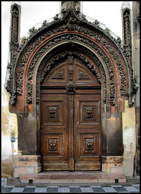 Gothic Door Old Town Hall Stare Mesto Prague Gothic door main entrance to the town hall & Gothic Door Old Town Hall Staré Město Prague 1   Prague Gothic and ...
