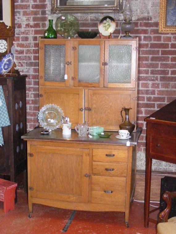 Oak Hoosier style early kitchen cabinet stainless steel top art ...
