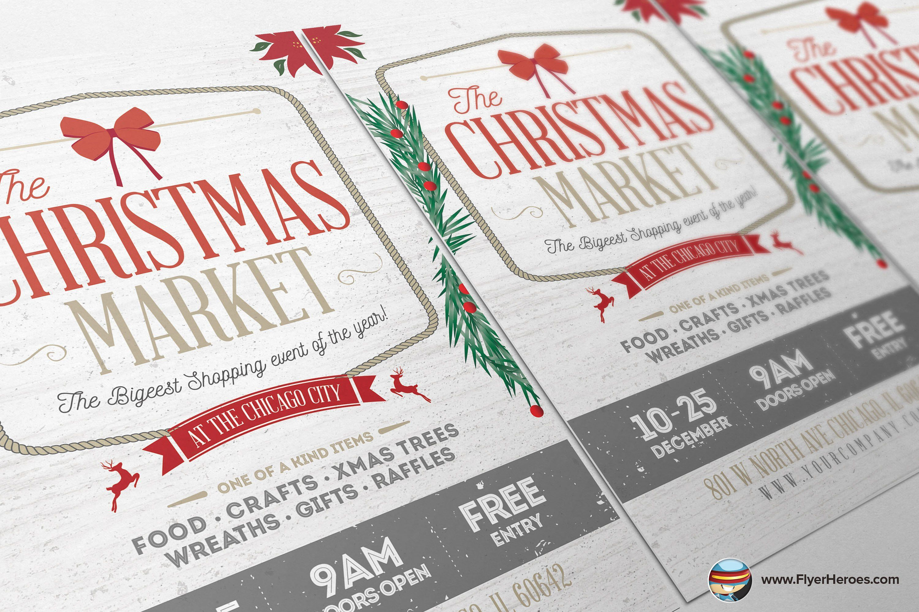 Rustic Christmas Flyer Template By Flyerheroes On Creativemarket