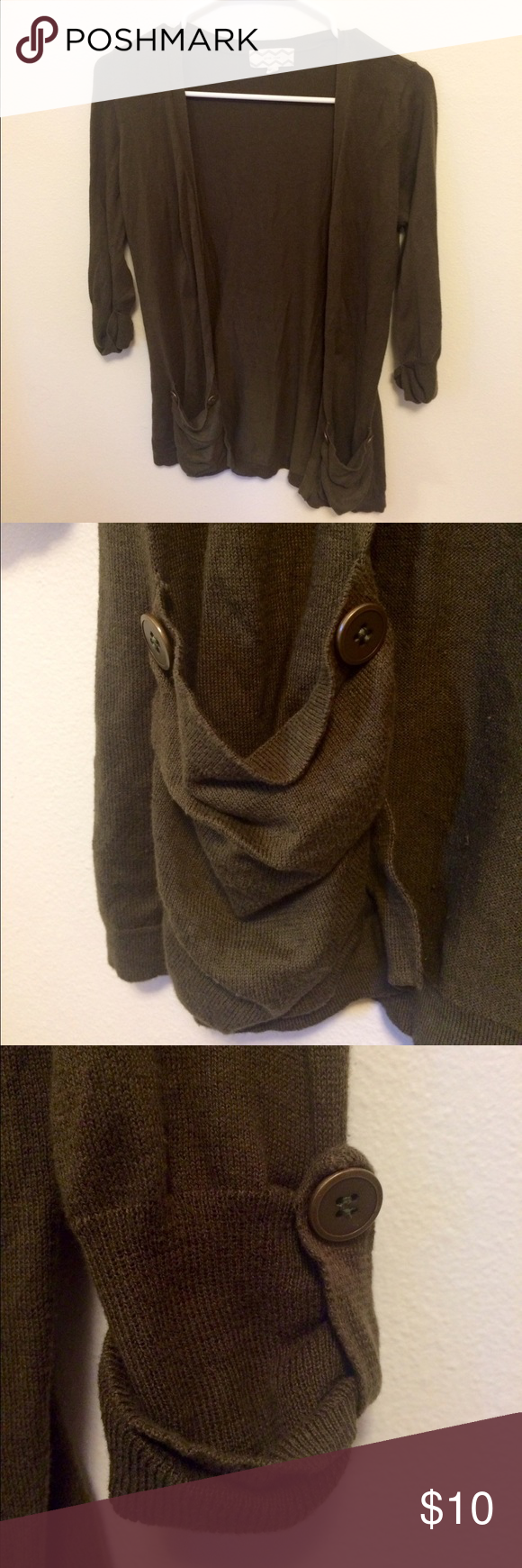 Olive green 3/4 sleeve cardigan Worn once. In perfect condition ...