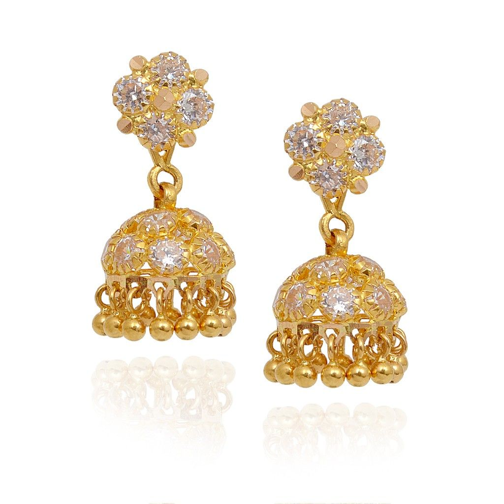 Jhumki-Earrings | Gold Balls Beads With Stone Studded Gold Jimmiki ...